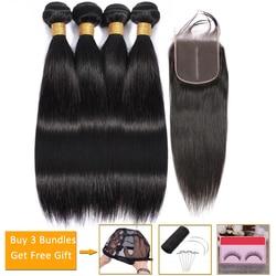 Прямые волосы 4 пряди с закрытием бразильские волосы плетение пучки пряди и закрытие перуанские человеческие волосы пряди с закрытием не-remy