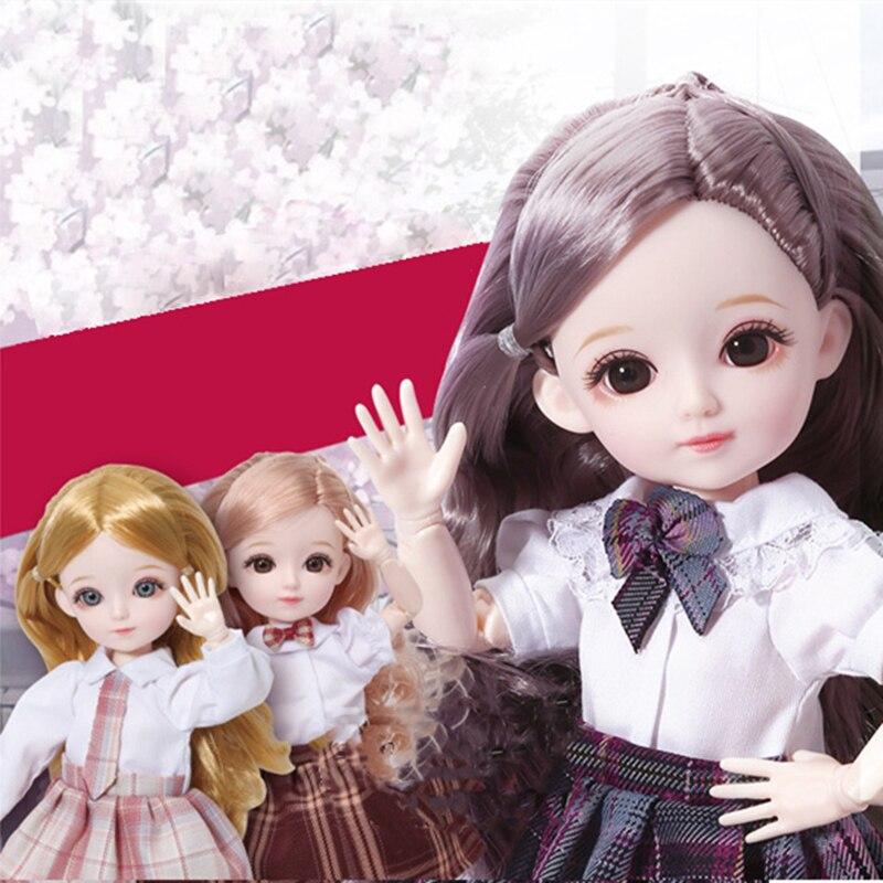 Braun Grau Augapfel BJD Puppe 12 Zoll 22 Bewegliche Gelenke 1/6 Make-Up Kleid Up Nette Puppen mit Mode Schuluniform für Mädchen Spielzeug