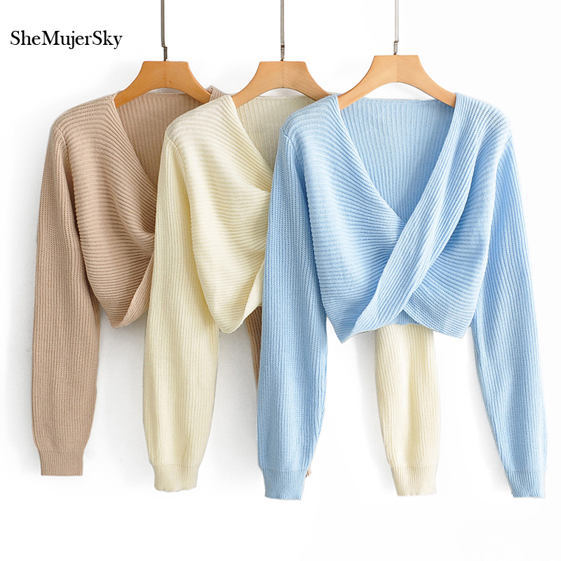 SheMujerSky Women Solid Color Jumper Cross Design Long Sleeve Sweaters Pull Femme Blue Pullovers 2019
