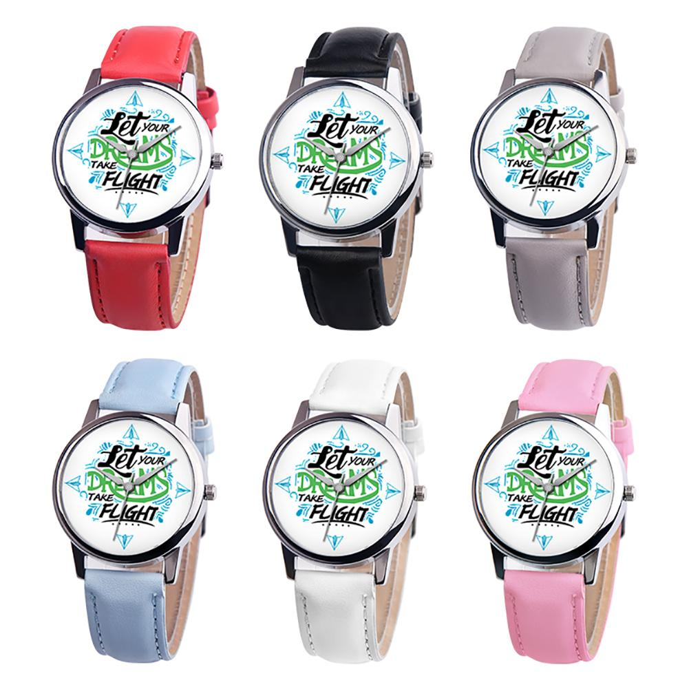 Simple Letters Fresh Couple Student Watch Let Your Dreams Take Flight Letter Dial Faux Leather Band Quartz Wrist Watch