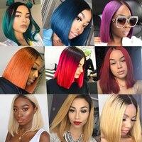 Ombre Blonde 13x4 Lace Front Short Bob Wigs 1b Blue Purple 27 30 99j 150% Remy Brazilian Straight Human Hair Wigs Bleach Knots