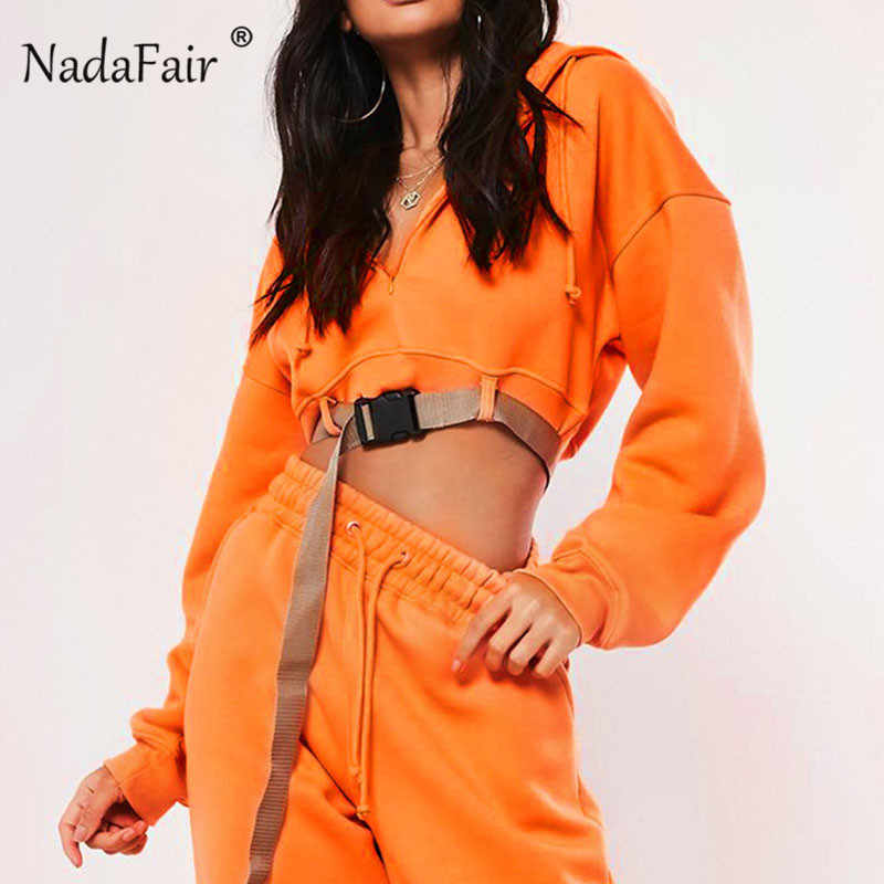 Nadafair pomarańczowy z kapturem krótki bluza kobiety klamra owinięte Streetwear jesień zamek luźne bluzy z kapturem kobiet sweter