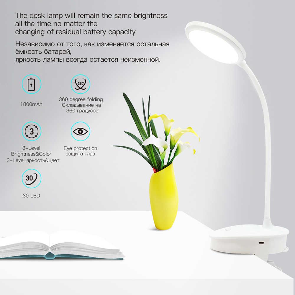 مصباح ليد بوحدة USB قابل لإعادة الشحن لمبة مكتب مرنة معقوفة مسة يعتم الجدول مصباح كليب على مصباح ل كتاب السرير و الكمبيوتر 3 اللون وسائط