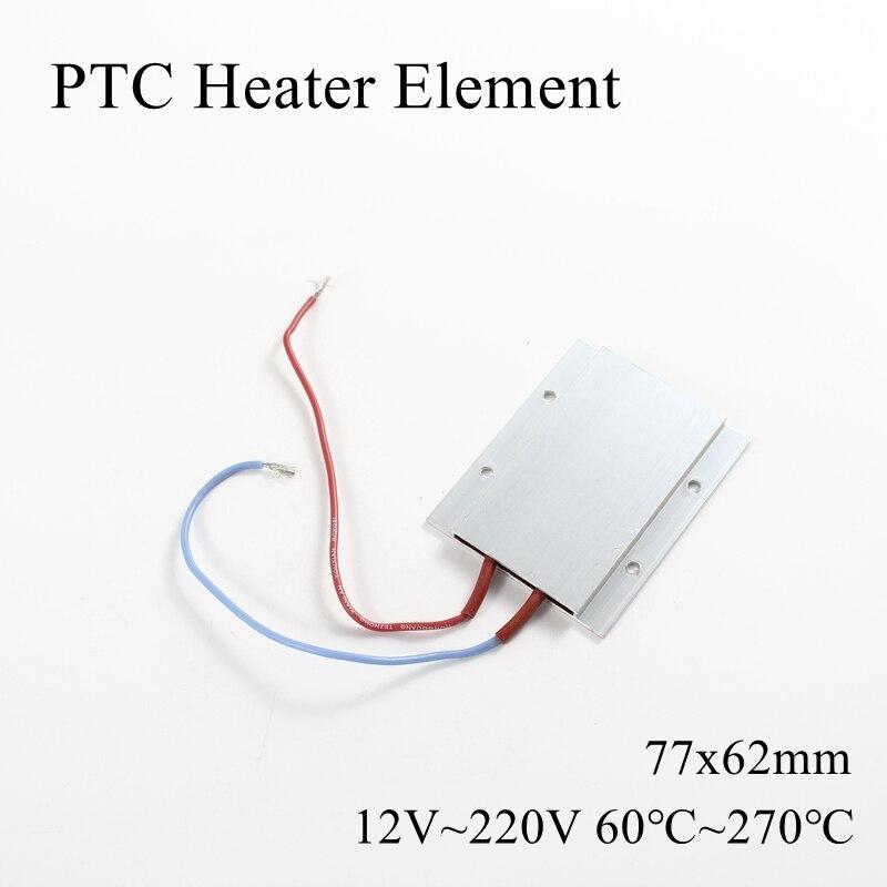 77x62mm 12V 24V 36V 48V 110V 220V PTC Heater Element Constant Thermostat Thermistor Air Heating Sensor Aluminum Shell 77*62mm