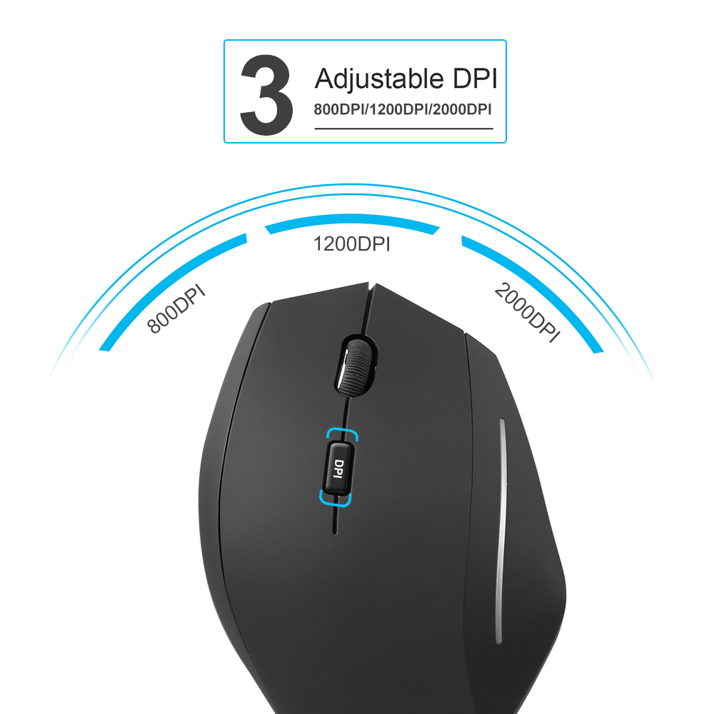 Image 2 - TeckNet Vertical Wireless Mouse 2.4GHz Nano Ergonomic Optical Mouse 3 Adjustable Levels 2000/1200/800DPI Mouse For PC Computer-in Mice from Computer & Office