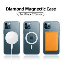 Manyetik durumda iPhone 12 Pro Max 12 mini durumda Magsafe için kablosuz şarj darbeye tam koruma PC + TPU kılıfı Joyroom