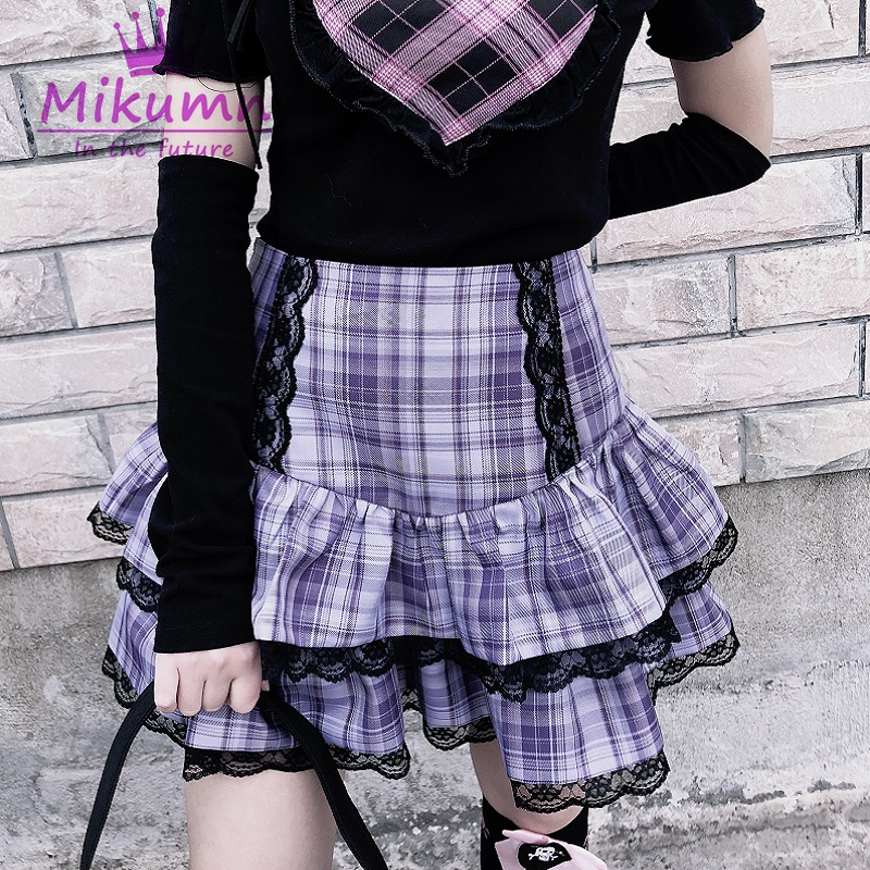 Кружевная плиссированная мини-юбка в японском стиле Харадзюку, с высокой талией, в готическом стиле