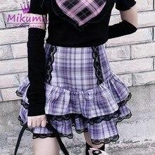 Mini jupe plissée à carreaux en dentelle pour filles, Harajuku japonais, taille haute, gothique, mignonne Lolita gâteau