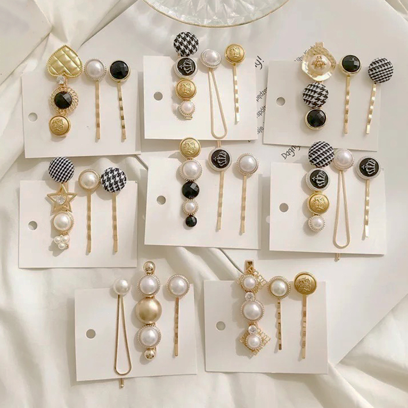 3Pcs/Set Pearl Hair Clips Checked Cloth Women Hairpins Girl Hair Accessories Barrette Bobby Pins Hairgrip