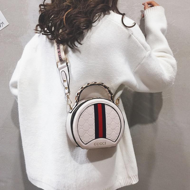 Petit sac Chaohan version 100 mode ronde oblique sacoche gaz étranger large bande unique épaule petit sac rond