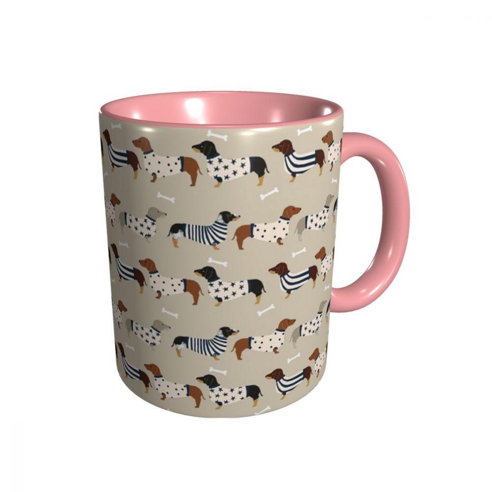 Dachshunds cerâmica lustrosa caneca de café xícara de chá para escritório e casa adequada para máquina de lavar louça e microondas