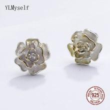 Серьги гвоздики женские из серебра 925 пробы с цветком розы