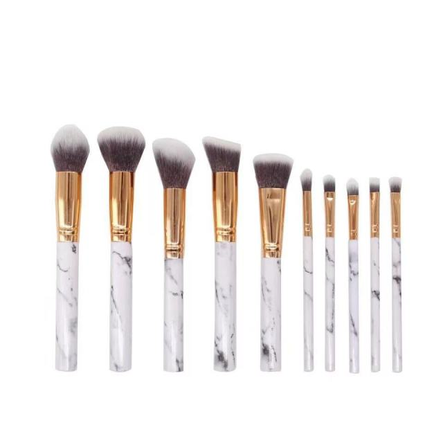 10 Pcs professional makeup brush Set tools Powder Foundation Eyeshadow Lip Eyeliner Blush Marble Face Makeup Brushes 4