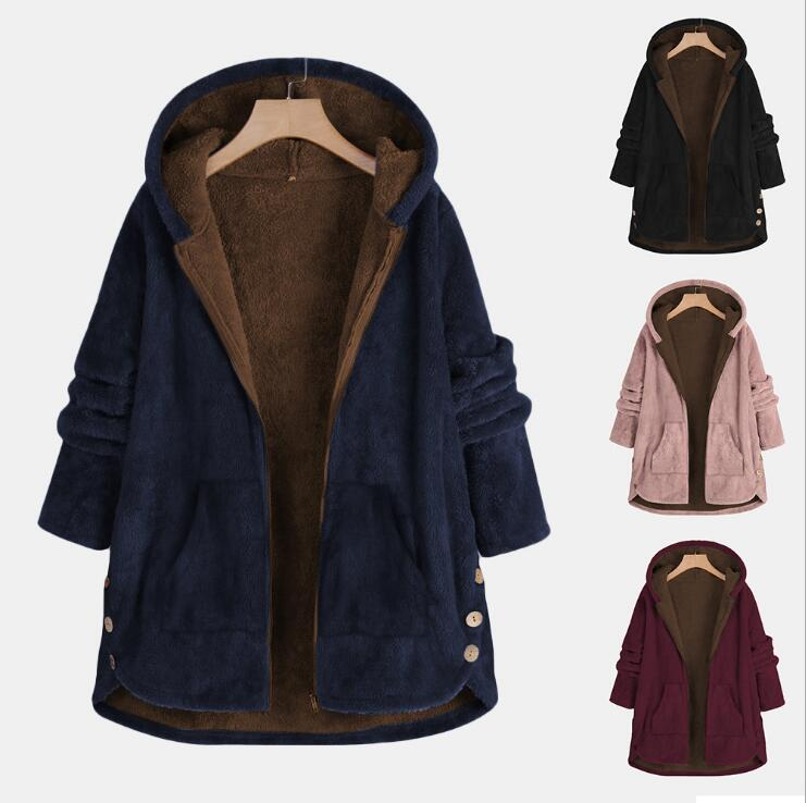 Women Hooded Coat Autumn Winter Long Hoodies Fleece Female Casual Warm Thicken Coat Jacket Fashion Loose Outwear Tops