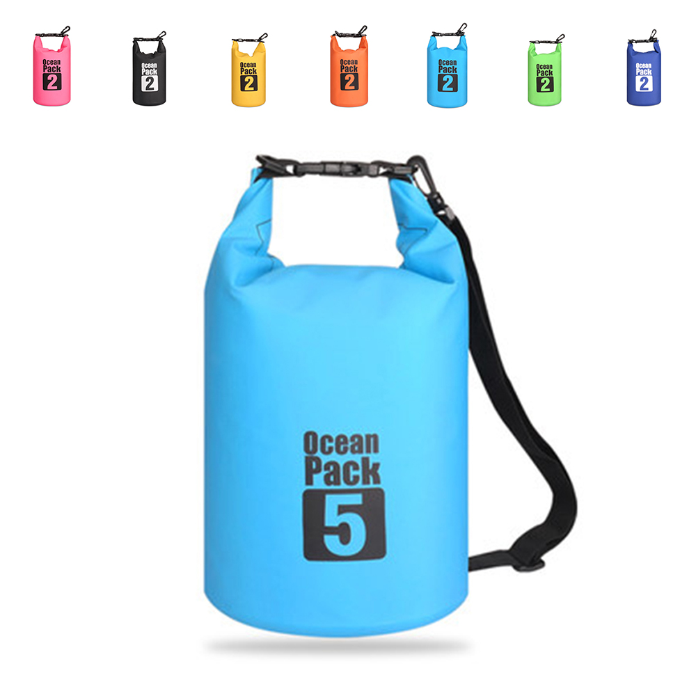 2L/5L Outdoor Portable Rafting Diving Dry Bag Sack PVC Waterproof Folding Swimming Storage Bag  For River Trekking Swim Bags