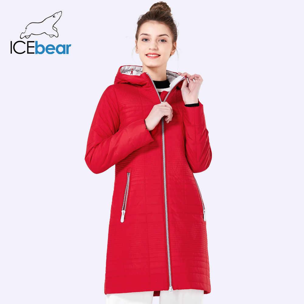 ICEbear 2019 Queda Casacos Com Capuz Senhoras Da Forma das Mulheres Longas De Algodão Parkas Jaqueta Acolchoada Para As Mulheres 17G292D
