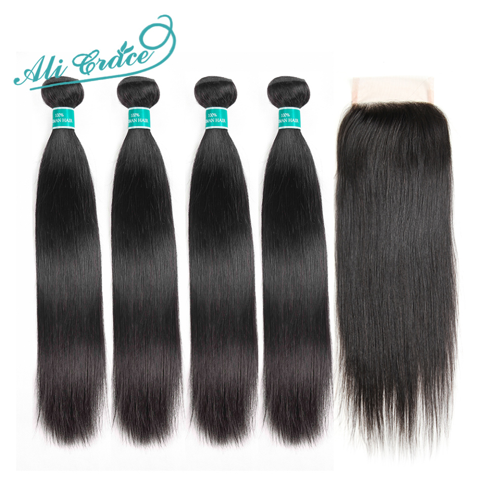 Ali Grace Brazilian Straight Hair With Closure 100% Remy Human Hair 4 Bundles With 4*4 Free Middle Part Lace Closure-in 3/4 Bundles with Closure from Hair Extensions & Wigs    1