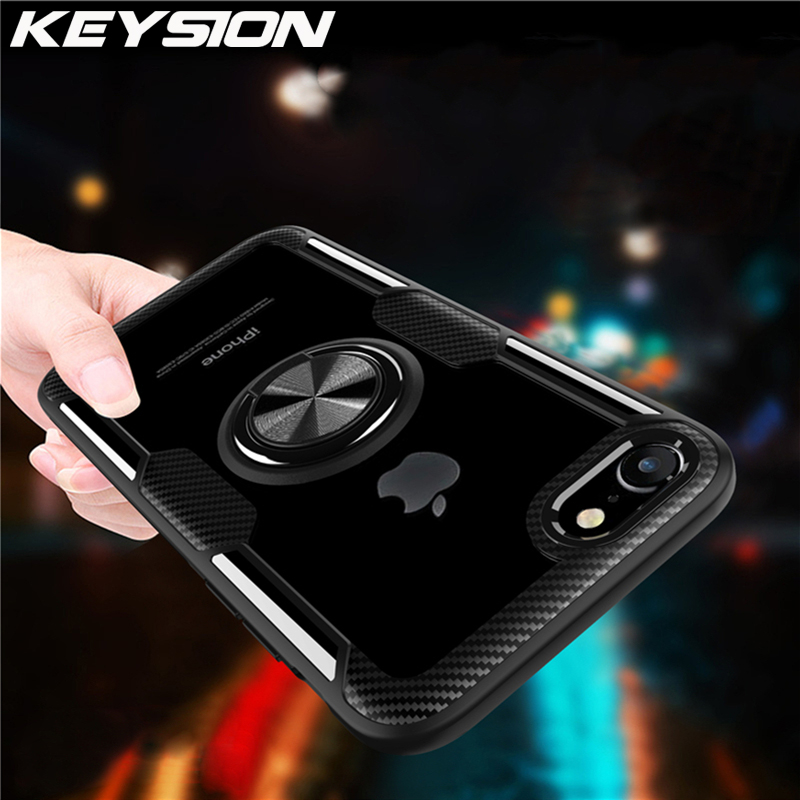 KEYSION Ring Case for iPhone SE 2020 New Transparent Shockproof Phone Cover for iPhone 11 11 Pro Max XR 8 7 6S 6 Plus X Xs Max