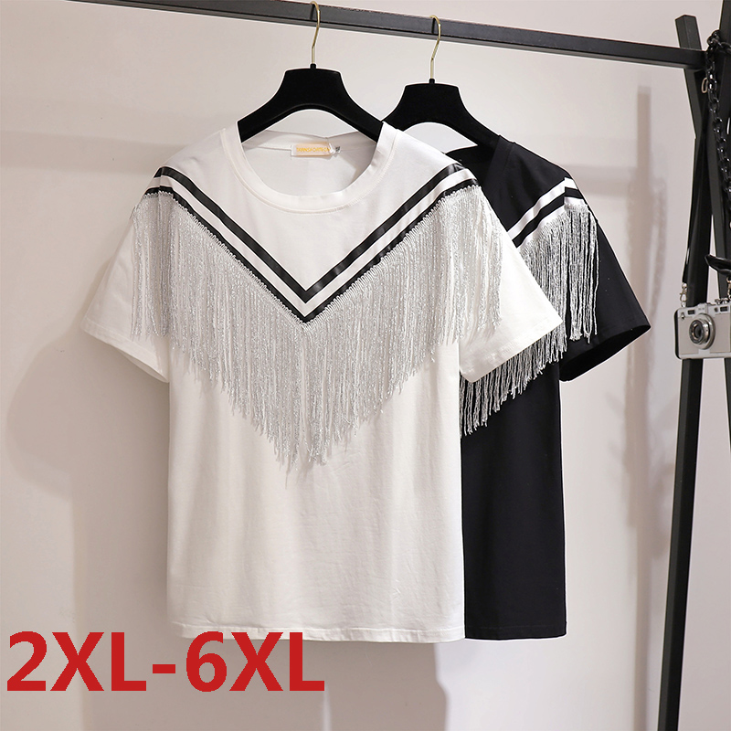 Plus Size 6XL O-Neck Short Sleeve Solid Summer Women T shirt Cotton Female Tassel Loose Casual Large T-shirt White Top Tees