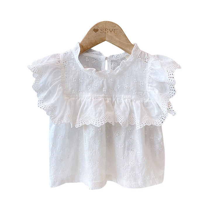 Kids Baby Girls Summer Fly Sleeve Cotton Lace Casual Ruched Tops Shirts Toddler Children Blouses Clothes 2-7Y