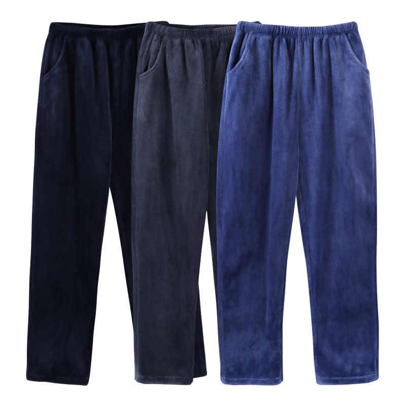 Gris Pyjama pantalon hommes hiver flanelle salon pantalon hommes chaud Pyjama qualité maison porter élastique taille deux poches sommeil bas nouveau