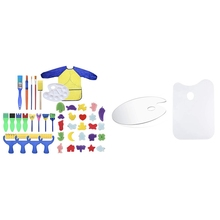 Brushes with 2pcs Paint-Palette Ellipse/rectangle Non-Stick Clear Early Kids