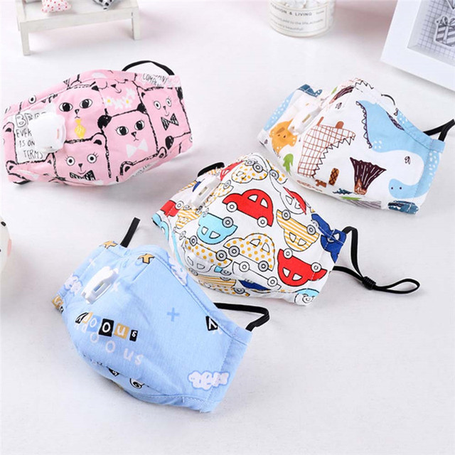 Lovely PM2.5 Washable Mouth Mask With Valve Kids Children Anti Haze Dust Mask Nose Filter Face Muffle Flu Respirator
