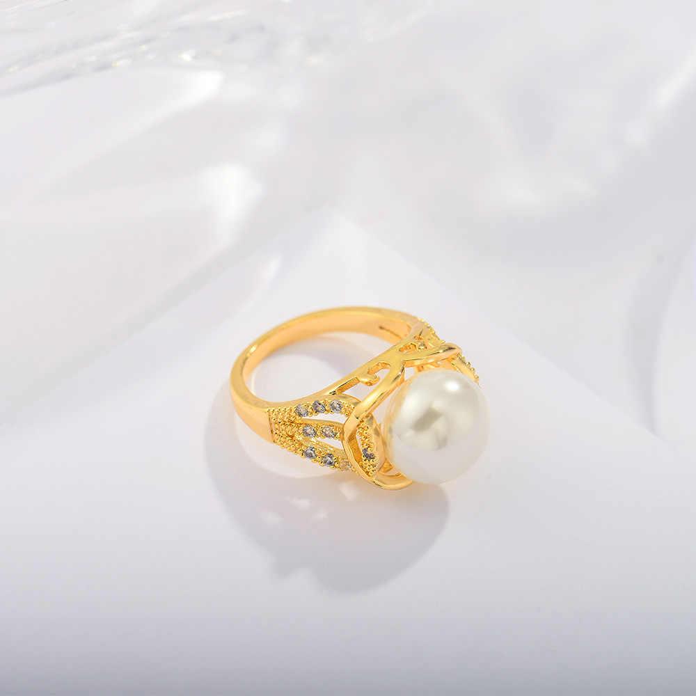 Viennois ใหม่ GOLD สีโลหะแหวนจำลอง Pearl Twisted Zircon หญิงเครื่องประดับ 2019