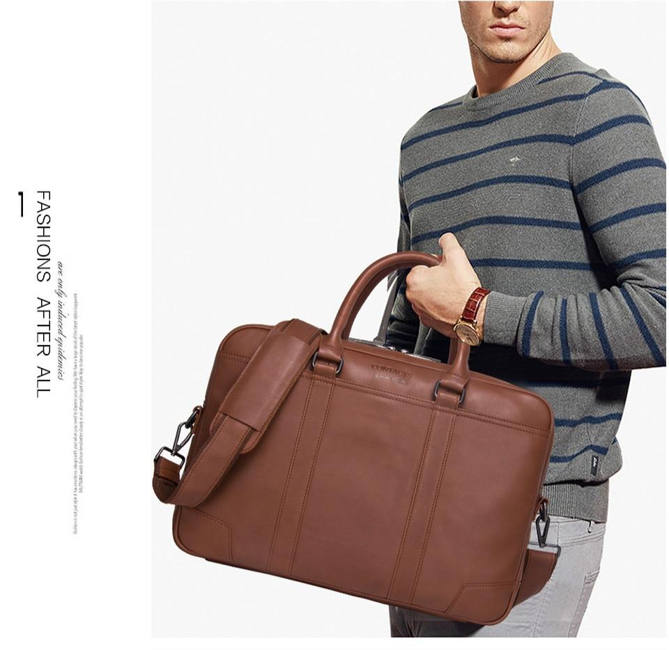 Men's Business Briefcase Leather Shoulder Bag Casual Handbags