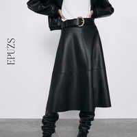 Vintage belt PU leather skirts womens high waist midi skirt Streetwear casual office pleated black skirt full winter 2019