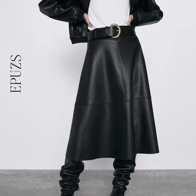 Vintage Belt PU Leather Skirts Womens High Waist Midi Skirt Streetwear Casual Office Pleated Black Skirt Full Winter 2019