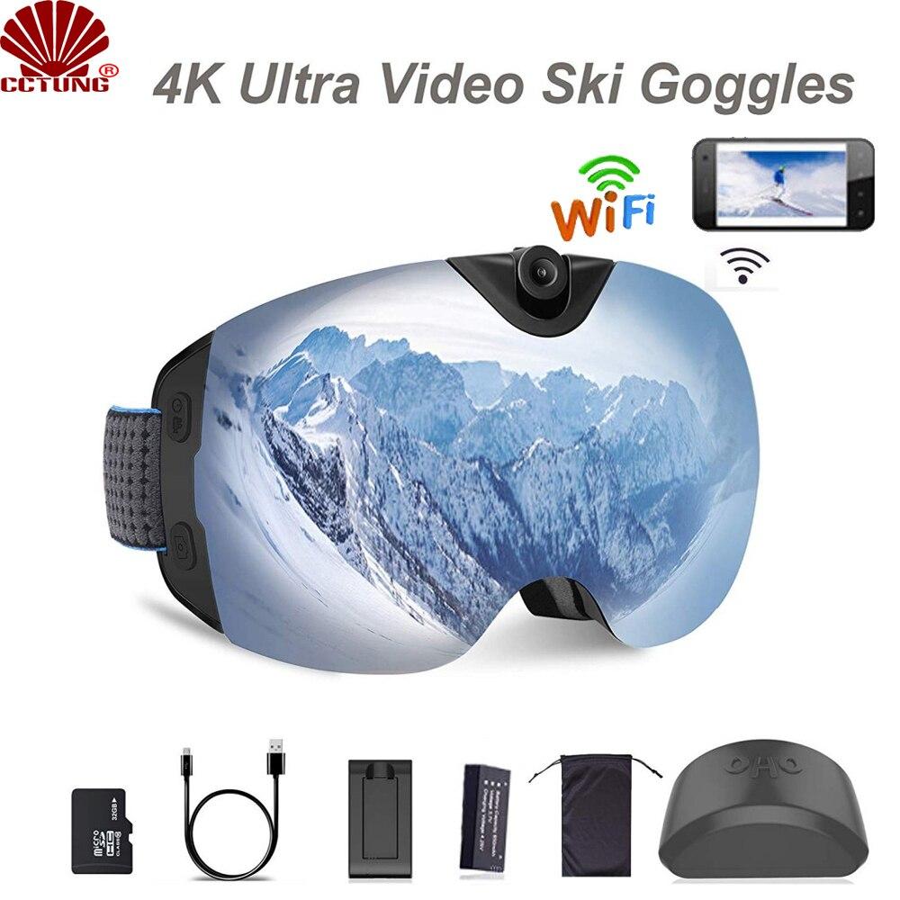 Ski-óculos de Sol Wifi com Super Gravação de Vídeo Lente de Proteção Ultra Vídeo Câmera 1080 p 60fps Anti-nevoeiro Snowboard Uv400 4 k