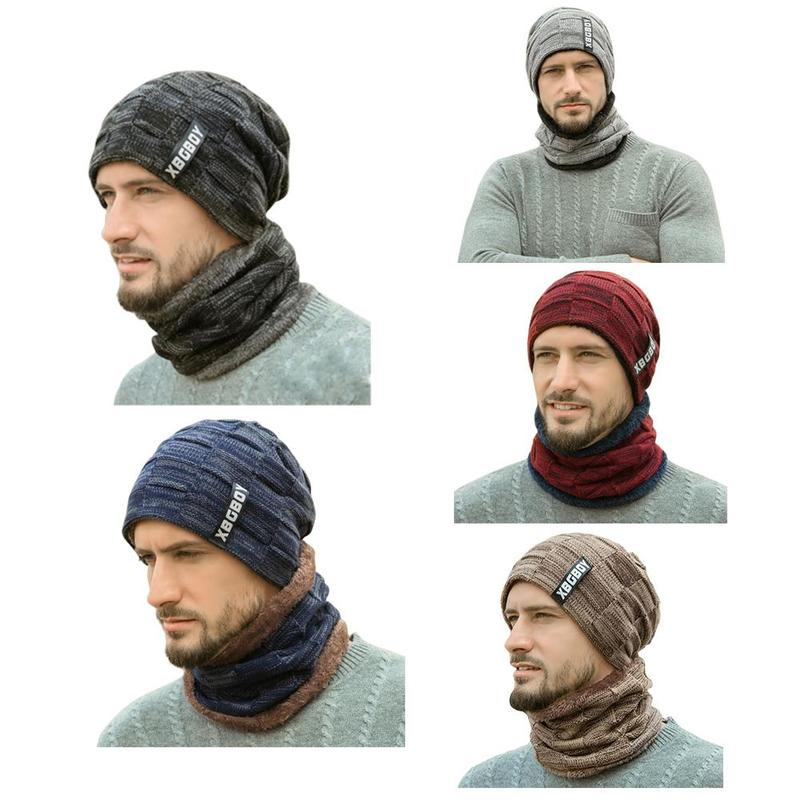 Fashion Mens Winter Knitted Cotton Hat+Scarf Male Warmer Elastic Hat Neck Warmer