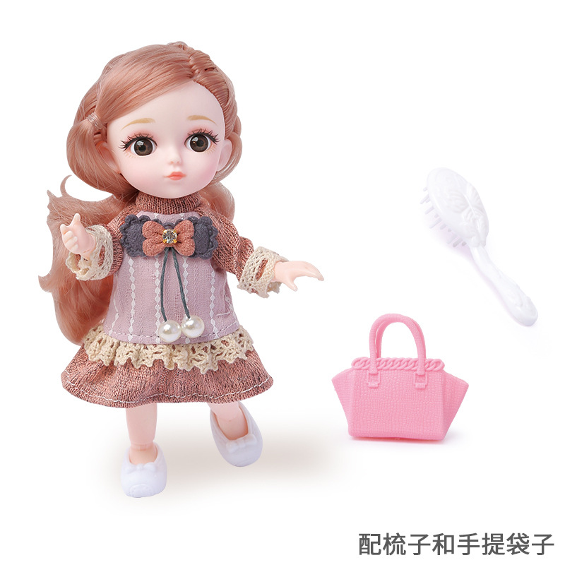 16cm/31cm Bjd Doll 12 Moveable Joints 1/12 Girls Dress 3D Eyes Toy with Clothes Shoes Kids Toys for Girls Children Birthday Gift 16
