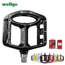 цена на Wellgo MTB Pedals 2 Sealed Bearings Bicycle Pedals for bmx Road Mountain Bike Pedals Wide Magnesium Alloy Cycling Pedals