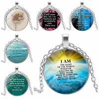 Handmade Creative Necklace Pendant Christian Jesus Time Rounded Metal Sweater Chain Jewelry Small Gift