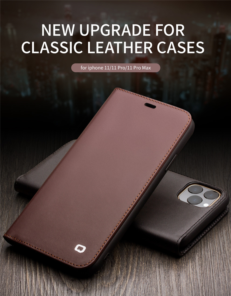 QIALINO Genuine Leather Phone Case Mini Pure Handmade Flip Case with Card Slots