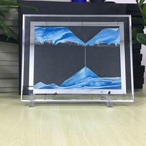 Image 2 - Marco de imagen de arena móvil, pintura de paisaje líquido, foto de cristal, adornos de escritorio, pintura de arena que fluye con visión 3D con marco de fotos