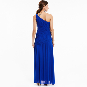 Image 3 - Tanpell long evening dress champagne sleeveless pleats ruched beading floor length dresses women prom one shoulder evening gown