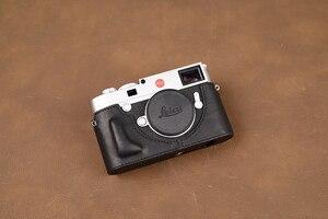 Image 5 - AYdgcam العلامة التجارية جلد طبيعي حافظة كاميرا اليدوية نصف الجسم حقيبة الغطاء السفلي لايكا M10 M10P فتح تصميم البطارية