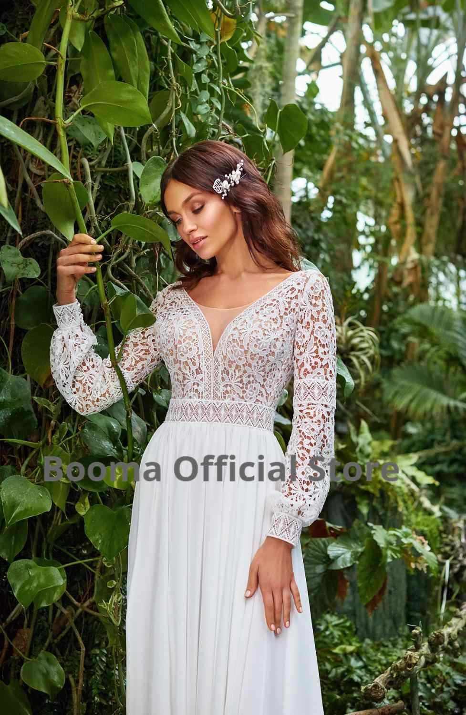 Booma bohême robes de mariée dentelle sirène épaules nues robe de mariée 2020 bateau cou balayage Train princesse fête Gonws grande taille