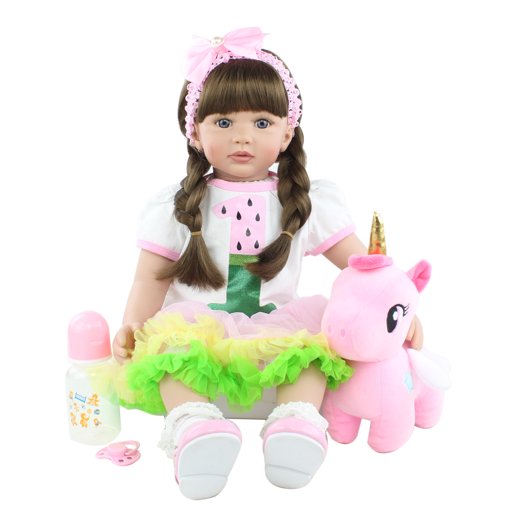 60 CM Soft Silicone Reborn Toddler Doll Toy For Girl Long Hair Princess Baby With Cloth Body Alive Bebe Dress Up Birthday Gift