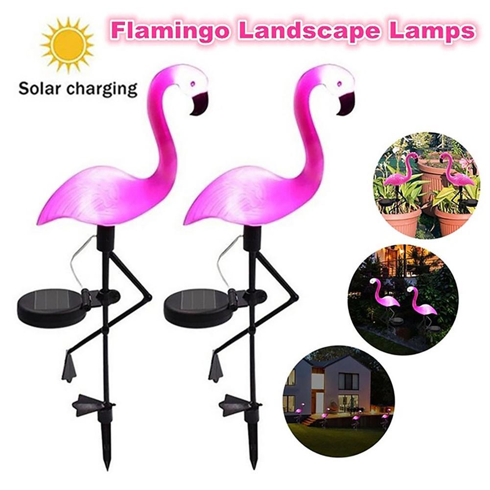 LED Solar Flamingo Stake Light Lantern Solar Powered Pathway Lights Decorative Outdoor Lights Lawn Yard Lamp For Garden Patio