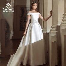 Swanskirt Vintage Wedding Dress 2020 Fashion Boat Neck Off Shoulder A Line Crystal Satin Princess Bride Vestido de novia GY24