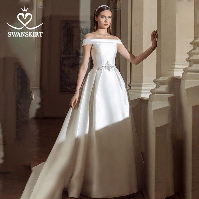 Swanskirt Vintage Áo Cưới Năm 2020 Thời Trang Cổ Thuyền Lệch Vai Chữ A Pha Lê Satin Công Chúa Cô Dâu Đầm Vestido De Novia GY24
