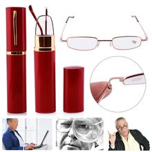 Reading-Glasses Portable Women Metal The Old Unisex with Tube-Case Strength Strength