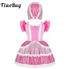 TiaoBug الاطفال الفتيات الوردي لامعة الترتر Frilly تكدرت قصيرة الأكمام فستان الباليه مع قبعة مجموعة مرحلة الأداء ملابس رقص