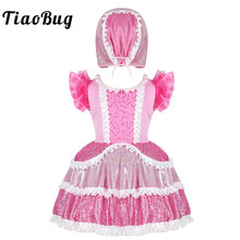 TiaoBug Kids Girls Pink Shiny Sequins Frilly Ruffled Short Sleeves Ballet Dress with Cap Set Stage Performance Dance Costume