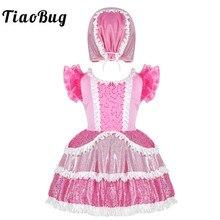 Tiaobug crianças meninas rosa brilhante lantejoulas babados babados mangas curtas vestido de balé com boné conjunto palco desempenho dança traje