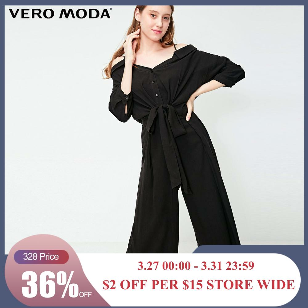 Vero Moda Women's Boat Neck Detachable Shoulder Straps High-rise Wide-leg Jumpsuit | 319244507